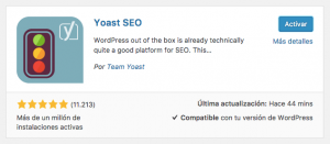 Activar Yoast SEO para WordPress