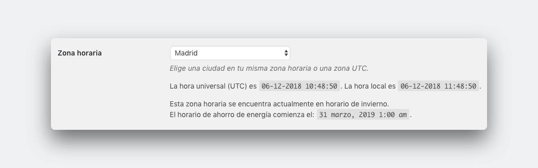 Pantazo del ajuste de hora cuando creas una página web con wordpress