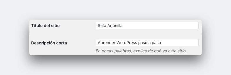 pantallazo 1 de ajustes generales a la hora de crear una página web con wordpress