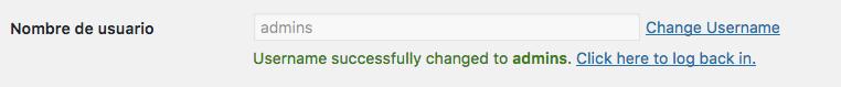 Cambiar el nombre de usuario admin en WordPress con el Plugin Username Changer