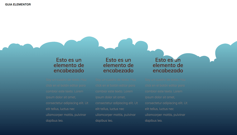 Pantallazo del Divisor Nubes en Elementor