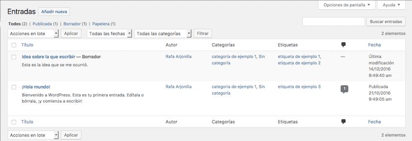 Gestión de entradas del blog en WordPress, pantallazo
