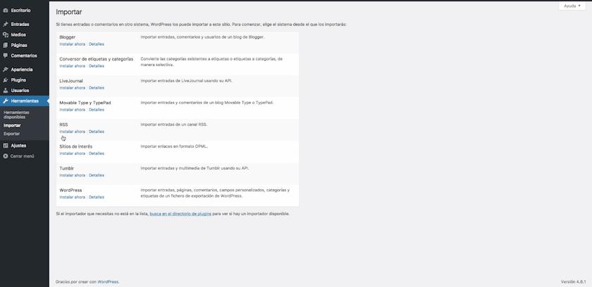 importar-contenido-wordpress-pantallazo