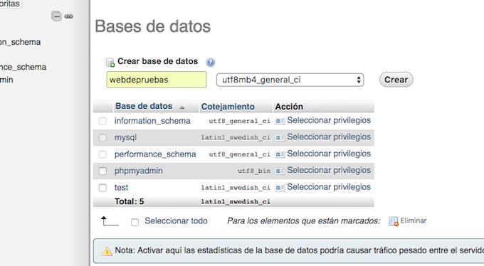 nuestra base de datos en xampp