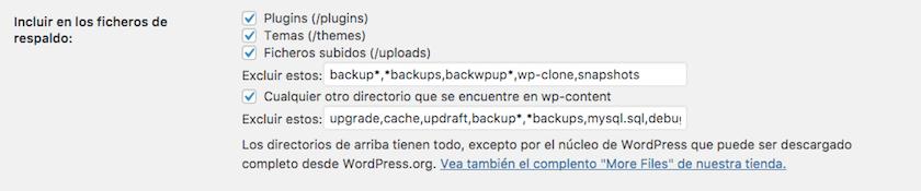 Opciones de la pestaña ajustes del plugin Updraftplus