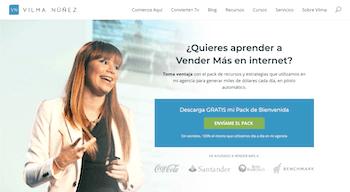 Página de inicio de una web para marketers