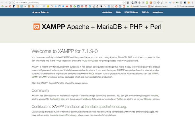 Pantalla de la aplicación XAMPP