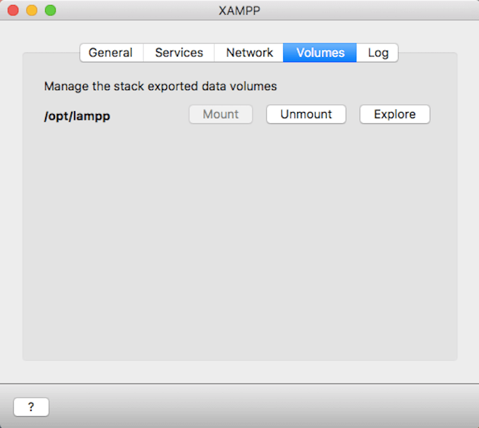 pantalla volumes xampp