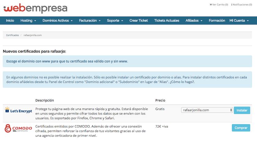 Pantallazo para instalar un certificado SSL y pasar mi web a https