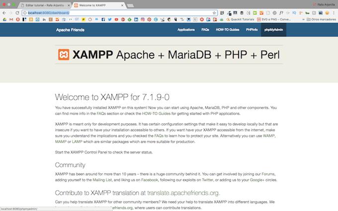 phpMyadmin para instalar WordPress en XAMPP