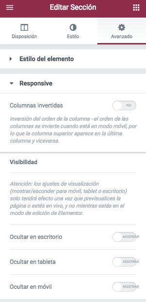 Opciones responsive de una sección en el maquetador visual para WordPress Elementor