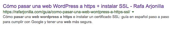 Resultado de búsqueda en Google para ver título y metas de Yoast SEO