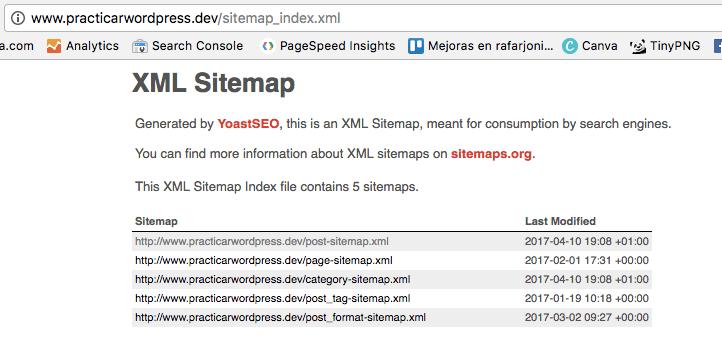 Posicionamiento seo wordpress - Índice de Sitemaps de Yoast SEO