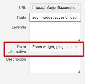 Web accesible tiene texto alternativo en las imágenes