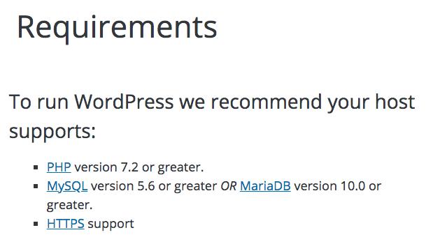 version php 7 wordpress