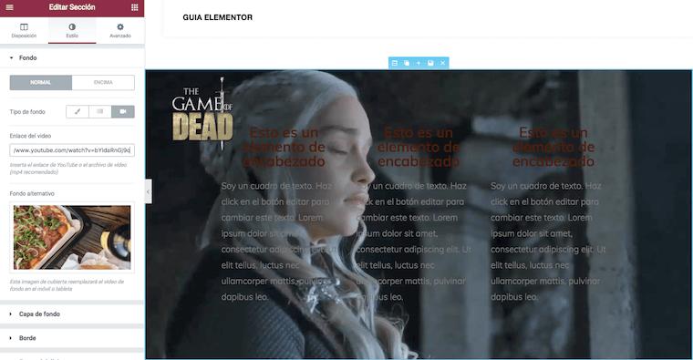 Pantallazo de cómo se pone un vídeo como fondo de una Sección en Elementor Page Builder